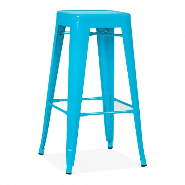 tabouret industriel de style tolix en bleu azur de 75cm. Black Bedroom Furniture Sets. Home Design Ideas