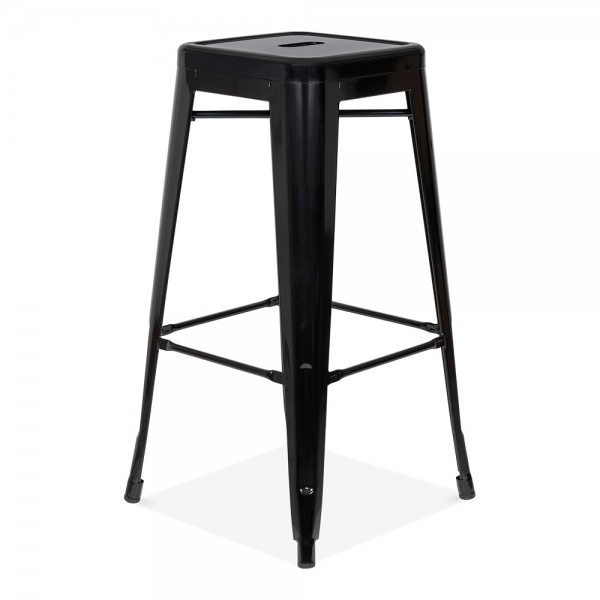 tabouret de style tolix en noir mat ou brillant de 75cm. Black Bedroom Furniture Sets. Home Design Ideas