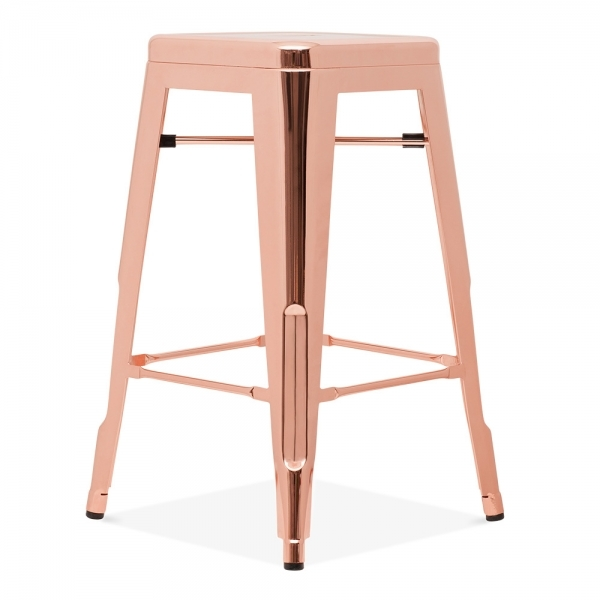 tabouret industriel de style tolix en or rose 65cm cult furniture. Black Bedroom Furniture Sets. Home Design Ideas