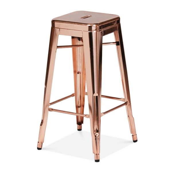 tabouret industriel de style tolix en or rose 75cm cult. Black Bedroom Furniture Sets. Home Design Ideas