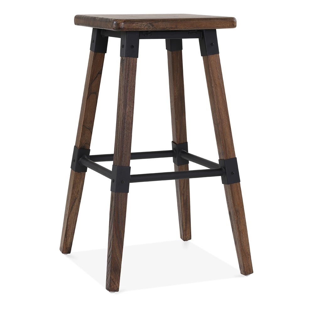 tabouret haut carr en bois marron bastille cult. Black Bedroom Furniture Sets. Home Design Ideas
