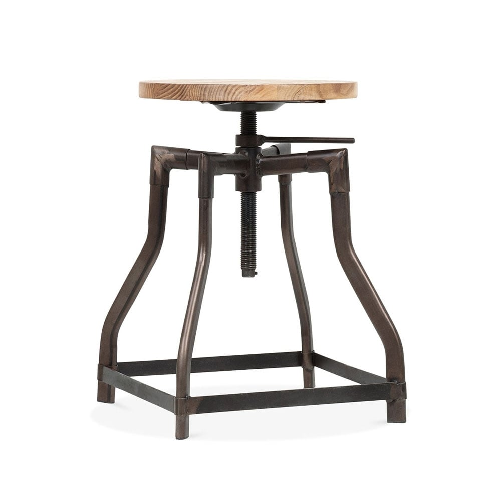 tabouret pivotant industriel turner noir 45cm ou 65cm cult furniture. Black Bedroom Furniture Sets. Home Design Ideas