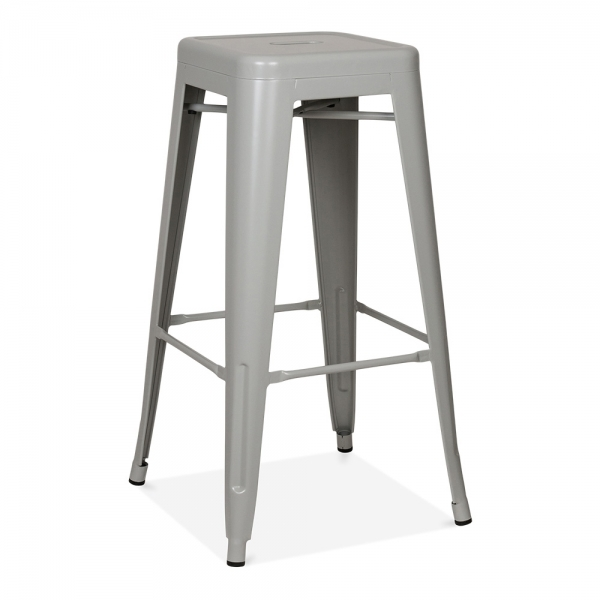 tabouret industriel de style tolix en gris froid 75cm. Black Bedroom Furniture Sets. Home Design Ideas