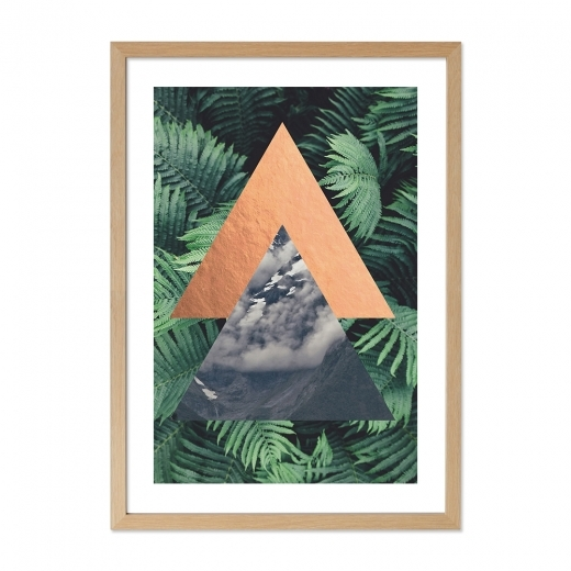 Cult Living Triangle de la jungle Print Affiche encadrée, vert, A2
