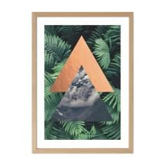 Triangle de la jungle Print Affiche encadrée, vert, A2