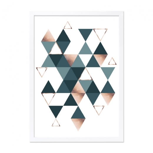 Cult Living Triangles Multiples Print Affiche Encadrée,  Sarcelle et Cuivre A2