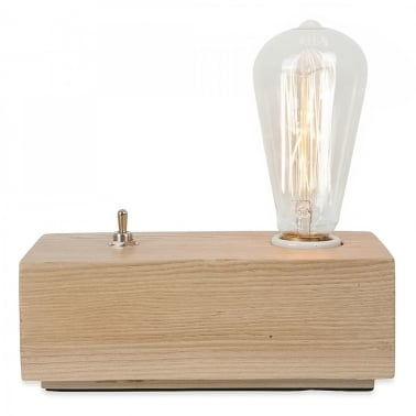 Vintage Style Wood Black Edison Table Lamp - Naturel